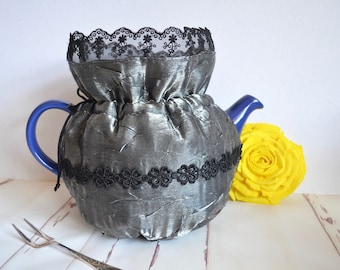 Silver tea cozy for high tea party or elegant special occasion, wedding anniversary gift,