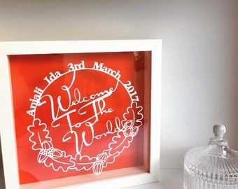 From Little Acorns - Personalised Papercut - new baby baby shower gift