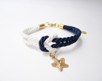 starfish bracelet, bridesmaid gift, cruise wedding gift, beach wedding favors, knot bracelet with starfish , tie the knot jewelry,navy white