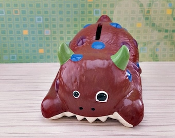 Maroon and Blue Monster Piggy Bank, Monster Piggy Bank, Piggy Bank, Baby Bank, Shelf Piggy Bank, Piggy Bank for Kids, Baby Shower Gift,