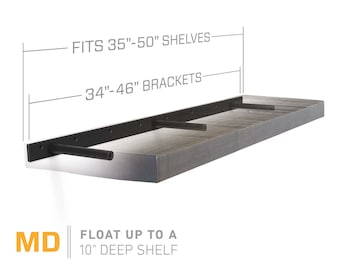 "Floating Shelf Bracket for 35"" to 50"" Long Floating Shelf - MEDIUM DUTY - Hardware Only (US Patent 9,861,198)"