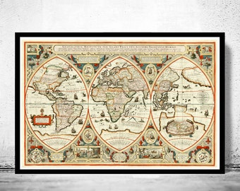 Antique world map etsy antique world map 1618 gumiabroncs Image collections