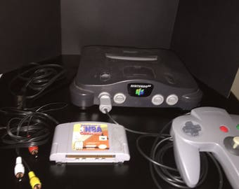 Nintendo 64 with one controller and Kobe Bryant in NBA courtside game