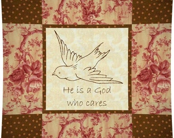 GOD CARES Embroidered Pillow Pattern - P P C 102 --- Printable Download Pdf E-Pattern Diy Free Shipping Digital Pattern Bird Brown Pink