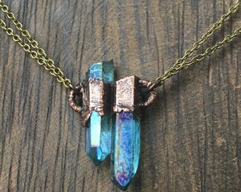 Crystyal Necklace , Copper Necklace, Electroformed Necklace, Crystal Necklace, Electroformed, aqua aura necklace