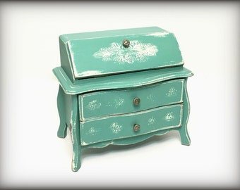 Aqua Vintage Music Box, Hand Painted Cottage Chic Secretary Style Jewelry Armoire, Trinket Keepsake Storage, Gift for Wife, Mothers Day Gift