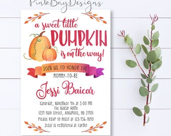 Pumpkin Baby Shower Invitation, Baby Shower Invitation, Little Pumpkin Invite, Watercolor Shower Invite, Pumpkin Baby Shower, Fall Shower