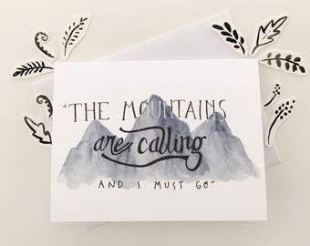 Greeting Card + Quote Card + Mountain + John Muir + Mountains are Calling + Nature Card + Tetons + Outdoorsy + Adventure + For Him + For Her