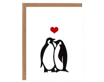 Penguins in Love -- Anniversary and Wedding Card