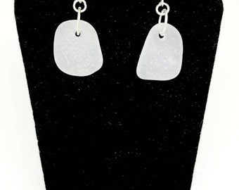 Sterling Sea Glass Earrings, Erie Beach Glass Earrings, Sea Glass Jewelry, Gift For Mom, Beach Glass Gift, Frosted White Sea Glass
