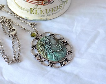 Cameo Necklace Patina Cameo Portrait Cameo Victorian-Style  Long Necklace Victorian Jewelry Grandma's Gift