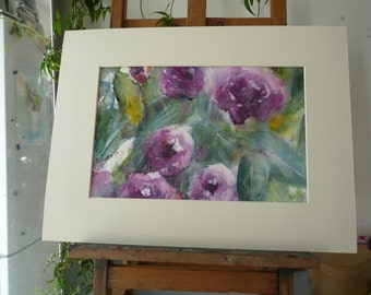 Original Watercolour: Purple flowers, purple pink