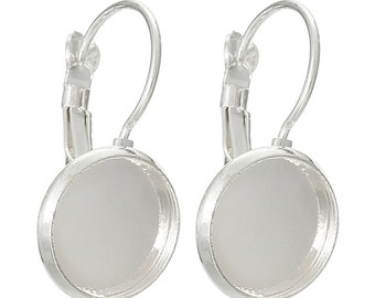 10 (5 pairs) silver plated cabochon bezel setting lever back earring components, fits 18mm round inside bezel  fin0386