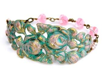 Vintage Rose Bracelet, Pink Rose Bracelet, Flower Bracelet
