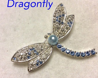Dragonfly brooch pin blue and clear rhinestones.