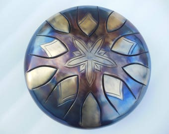 "12"" Steel Tongue Drum ""Snowflake"" Handpan, tank drum"
