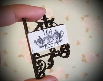 Miniature dollhouse Tea Room and  sign with wrought iron style double sided