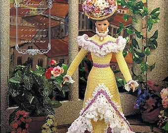 Turn of The Century Bridal Trousseau September Garden Party Frock  Fashion Doll  Crochet Pattern  Annies Calendar Bed Doll Society 7809