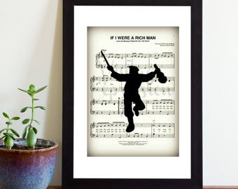 Fiddler on The Roof, If I Were a Rich Man, Jewish, Judaica, Musical, Theater, Silhouette, Print Art