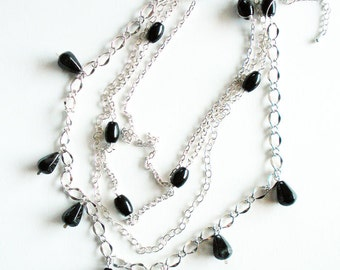 Black Agate Stones on Silver Chains Handmade Necklace