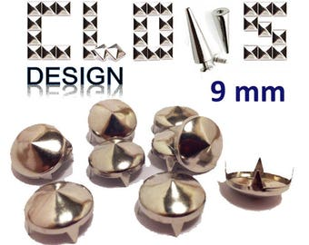 Customisation X 100 9mm silver cone studs