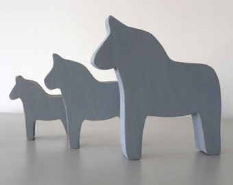 Set of three Scandinavian Style Dala Horses