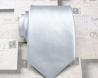 Mens Tie Silver Neckties With *FREE* Matching Pocket Square Set