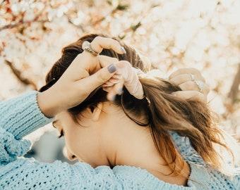 Blush velvet scrunchie