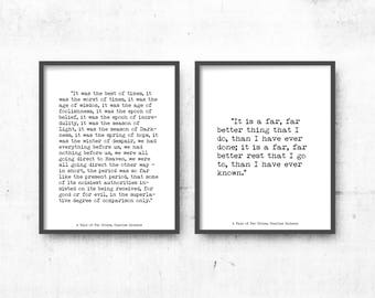 A Tale of Two Cities Prints, minimalist art decor Set of 2 art prints, Classic Literature Opening & Closing Lines Black and White Art