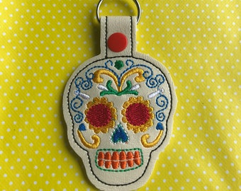 Sugar skull embroidered key fob