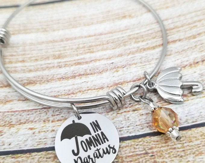 In Omnia Paratus Expandable Bangle Charm Bracelet, ready for anything, gilmore girls jewelry, umbrella, you jump I jump, college