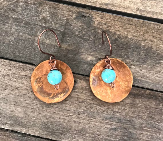 Hand hammered artisan copper discs with wire wrapped turquoise beads-vintage copper wire