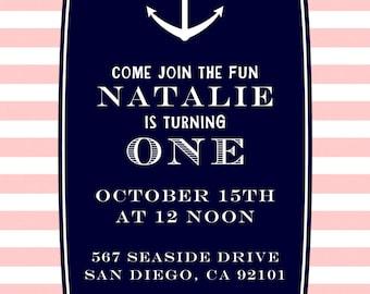 PRINTABLE Custom Invitation - Pink & Navy Nautical Party Collection - Dandelion Design Studio
