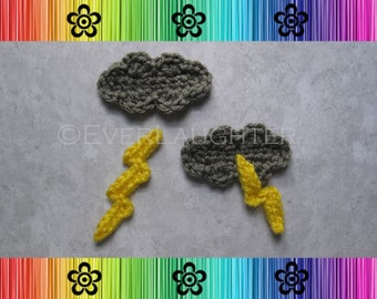 Lightning Cloud Applique  - CROCHET PATTERN (PDF)