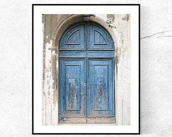 Venice Italy Wall Art, Door Photography, Vertical Wall Print, Rustic Art Blue Door Photograph Italian Door, Travel Gift, Italy Picture