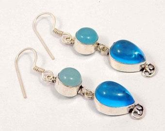 Blue Chalcedony Silver Plated Earrings  Jewelry