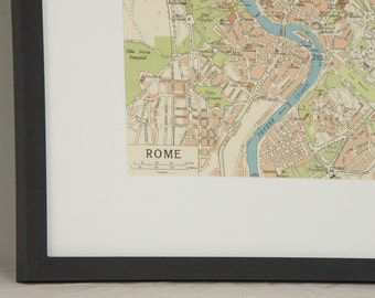 Framed 1956 Rome Italy Vintage Map