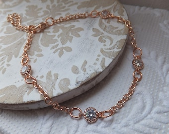 Rose Gold Cubic Zuconia  Bracelet with optional extension