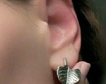 Leaf earrings, elegant, unique, handmade, feminine, jewelry, women, antiqued