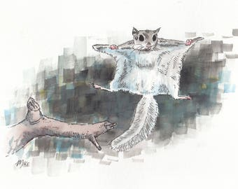 Flying Squirrel - 6x9 ink and watercolor painting