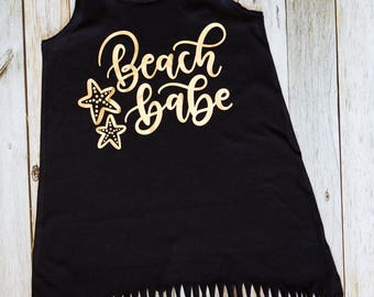 Beach Babe - Fringe Swim Cover Up - Girls Beach Dress - Cover up - Beach Cover Up - Summer Dress - Beach Outfit - Beach Shirt