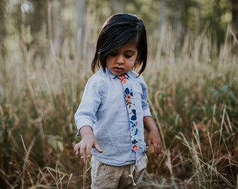 skinny tie, blue floral Boys skinny tie - kids necktie - tie for kids, toddler necktie, baby tie