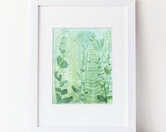 Watercolor Woodland - Green Ferns  - Tranquill Nature - Zen Art - Watercolor Modern  Art Print  - Various Sizes