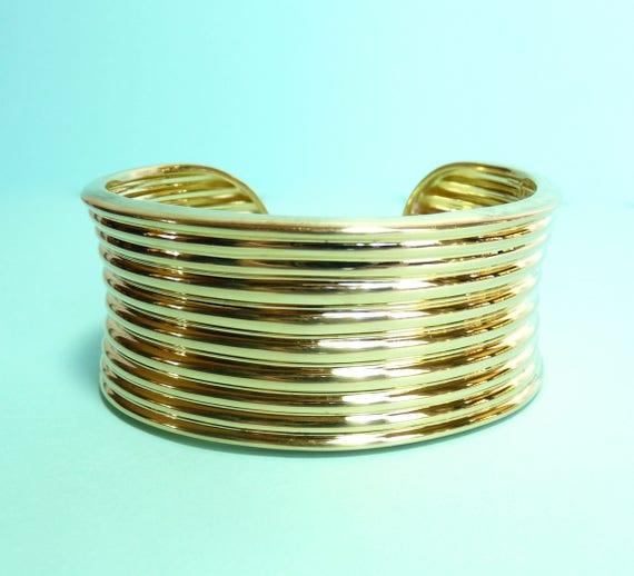 STERLING SILVER BRACELET ~ Gold Over Sterling Silver ~ Cuff Bracelet ~