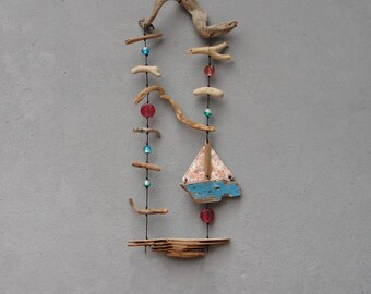 Sweet Sea Dreams Installation, Driftwood, Boatwood, Silk, Glass, Wall Hanging