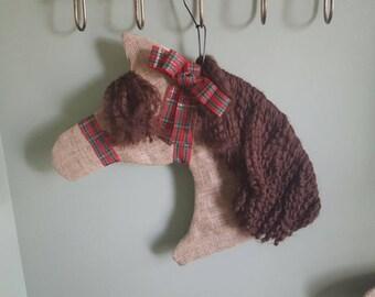 Custom made Burlap Horse Head wreath