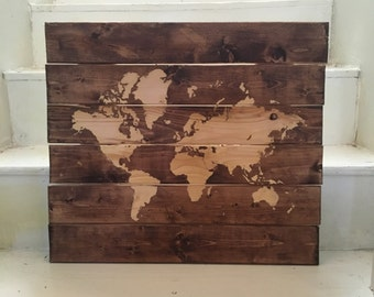 Stained chestnut wood map