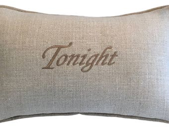 Pillow Tonight - Not Tonight Budoir - Embroidered Linen and Silk Off White with  Beige Thread