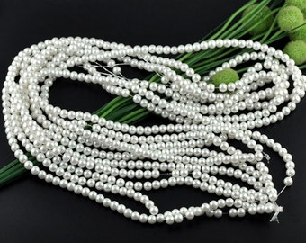 """White Glass Pearl Round Beads 8mm, 1 16"""" strand of 53-55 beads"""