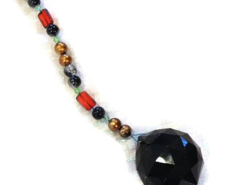 Feng Shui Crystal 40mm Sun Catcher Glass Beads Rainbow Ornament Black Orange Copper Beads